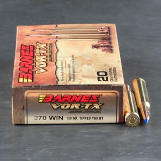Barnes VOR-TX Ammunition 270 Winchester 130 Grain TTSX Polymer Tipped Spitzer Boat Tail Lead-Free Box of 20