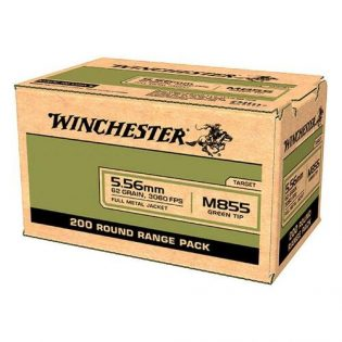 Winchester M855 5.56 NATO 62GR SS109 Green Tip FMJ 200 Rounds